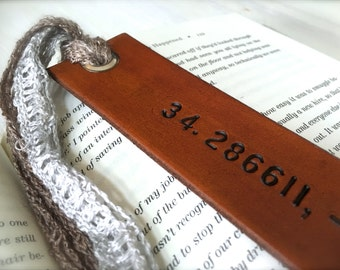 Personalized Coordinates Leather Bookmark - Latitude and Longitude Leather - Birthday Gift - Anniversary - Christmas Custom Leather Gift