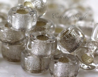 Pony Beads , 9mm w/3.5mm Hole, Crystal White, w/ Silver Lining, Rondelle Beads, Roller Beads, Czech Beads, Large Hole Beads, 20 Pcs, 0023