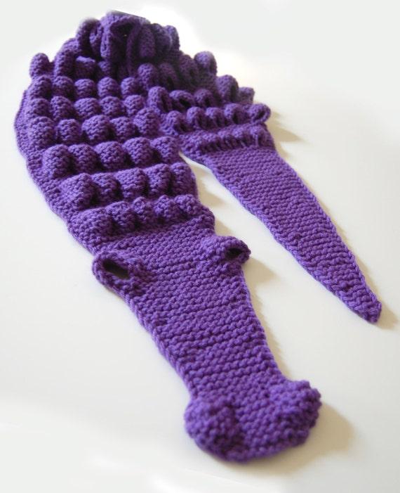 Free Knitting Pattern Alligator Scarf : Hand Knitted Purple Crocodile Alligator Scarf