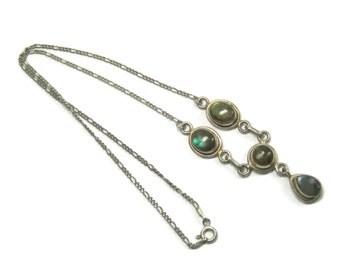 Vintage 90s Sterling Labradorite Necklace