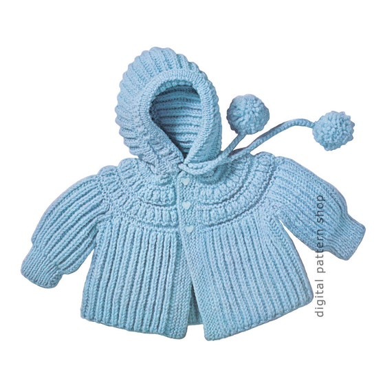 Vintage Knitting Baby Patterns : Knit Baby Hoodie Pattern 1960s Vintage Hooded Jacket Knitting