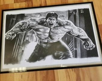 Hulk charcoal print.