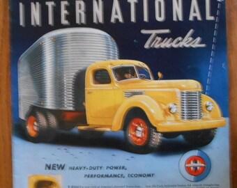 A31 Vintage 1941 International Truck Metro van Retro 1940s advertising Life magazine ad mechanic gift gas station decor car trucker gift