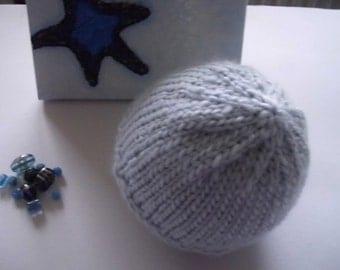 Warm hand knit light blue beanie baby hat 6-7 month baby accessories knit baby clothes baby wear newborn beanie gift baby boys hat