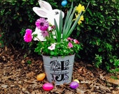 Personalized flower pot, Personalized pail, Galvanized bucket, Personalized planter, Garden decor, Flower pot, Housewarming Gift