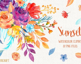 Watercolor Clipart Sunset - golden flowers, purple flowers, decorative elements and flower posy for instant download
