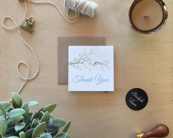 Blue Birds Thank You Card Pack/ 10 cards 99mmx99mm when folded & 10 Envelopes