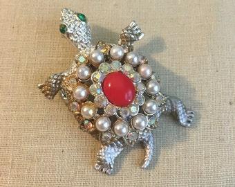 Vintage Rhinestone Turtle Brooch Jewelry