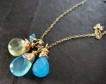 SALE, Chalcedony Briolette Gold Necklace, Prehenite Wire Wrapped Necklace, Faceted Teardrop Delicate Necklace, Sea, Beach, Water, Blue,Green
