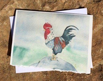 Set of 4 notecards chicken watercolor