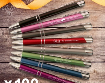 100 x Engraved Slimline Metal Pens Wedding Favour Personalised Gift Bomboniere