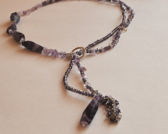 Long shiny amethyst and crystal necklace. Free shipping!