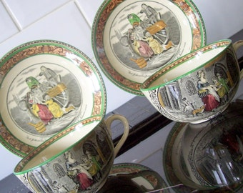 Pair of Adams Cries of London Cups & Saucers - Primrose and peas