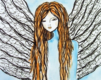 Ink Angel Painting Art Print, Birthday Gift, Gift Idea, Gift for her, Gift for Mom, Romantic Gift, Nursery Decor, Blue