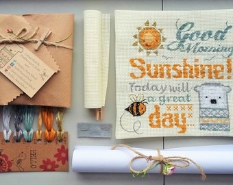 Cross stitch kit - Sunshine embroidery designs, needlework kit, you are my sunshine, beekeeper gift, papa bear, kitchen sign, new home gift