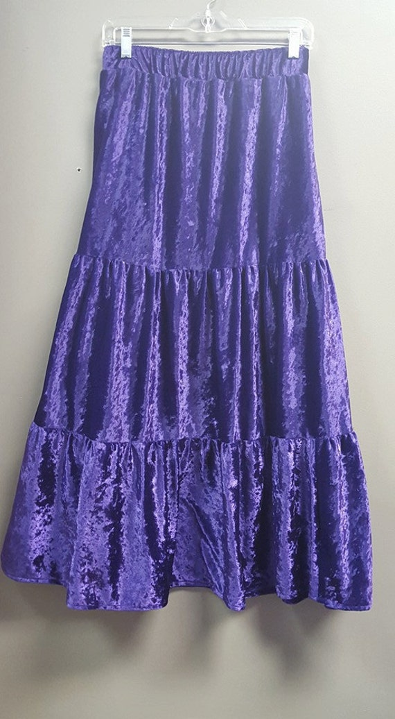 Purple Pane Velvet 3 Tiered Skirt