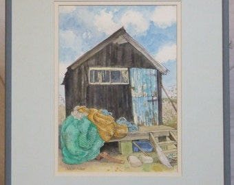 SALE painting original watercolour Juliette Palmer Walberswick and Cockles and Shrimps book framed art Freight cost extra etsy global gift