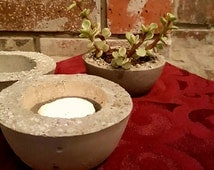 "Small 4"" Hypertufa succulent planter & tea light holder (1 planter)"