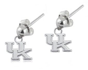 Kentucky Sterling Silver Post Dangle Earrings, Wildcats Silver Jewelry, UKY-6169