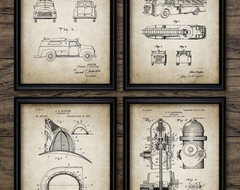 Firefighting Patent Prints Set Of 4 - Firefighting Equipment Design - Fire Rescue - Firefighter - Set Of 4 Prints #1960 - INSTANT DOWNLOAD