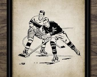 Vintage Ice Hockey Print - Ice Hockey Illustration - Ice Hockey Gift Idea - Printable Art - Single Print #560 - INSTANT DOWNLOAD