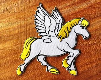 New Pegasus fantasy horse unicorn greek medusa iron-on patch Bags Jacket yellow