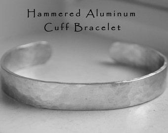 Aluminum Cuff Bracelet Hammered Textured Cuff Bracelet Rustic Jewelry Gifts Under 15 Aluminum Metal Bracelets
