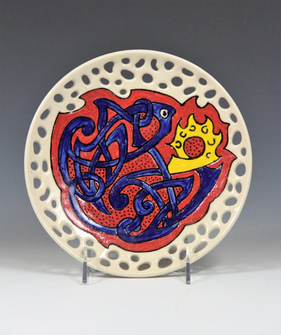 Fish plate // hand made ceramic plate// decorative hand painred plate // celtic fish design // plate with blue celtic fish // Red blue plate