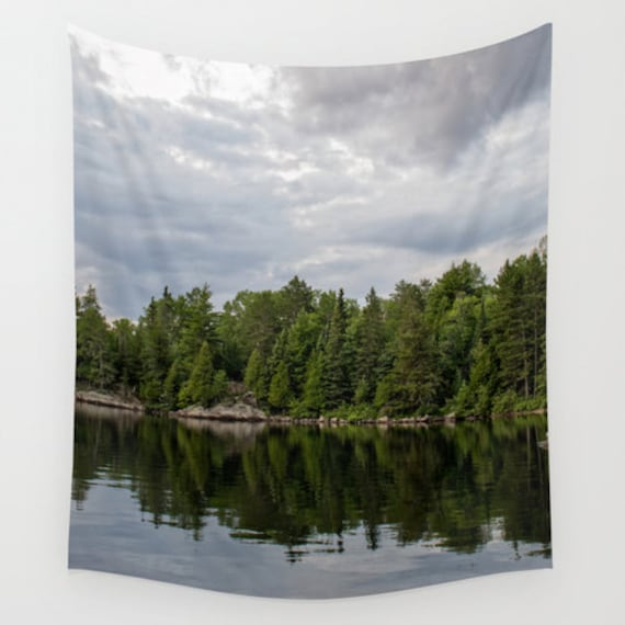 Wall Tapestry, Grey and Green, Cloudy Skies, Boundary Waters, Minnesota Images, Nature Photography, Indoor or Outdoor, Large Wall Art