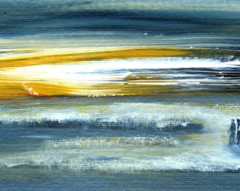 Winter Walk Painting Small Original Painting Acrylic On Paper Winter Sunset People Abstract Figurative Small Acrylic Painting Blue Yellow