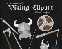 70% OFF THRU 7/30 Viking Clipart, 300 dpi png files, commercial and personal use, helmet, flail, sword, shield, axe, viking clip art,