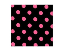 Medium Hot Pink Dots on Black by Lecien (LEC4524-BKP) Cotton Fabric Yardage