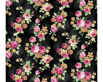 Tea Party Rose Clusters Black 2270-14F by Quilt Gate Cotton Fabric Yardage
