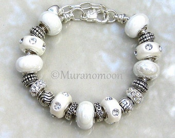 Wedding White Glass Bead Charm Bracelet White Lampwork Glass Bead European Bracelet Mother Nana Daughter Aunt Sister Grandma Jewelry #EB1398