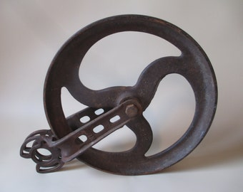 Pulley; Antique Pulley, Antique Wheel, Cast Iron Pulley, Cast Iron Wheel, Industrial Pulley, Industrial Wheel, Pulley Bracket, Pulley Part