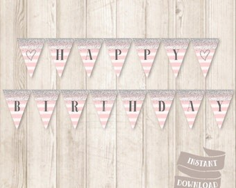 Printable Silver and Pink Birthday Banner, Silver Glitter, Watercolor Pink Stripes, Birthday Bunting Banner, INSTANT DOWNLOAD