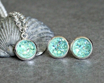 Mint Necklace Set, Mint Stud Earrings, Mint Druzy Earrings, Mint Druzy Necklace, Mint Post Earrings, Mint Green Necklace, Mint Studs 8MM