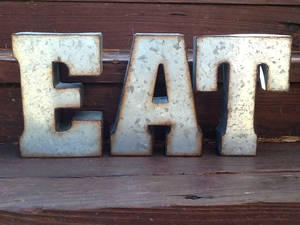Eat sign set of 3 industrial metal letters rustic metal for Where can i buy metal letters