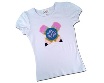 Girl School Shirt with Glitter Pencils and with Monogram