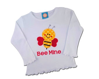 Girl's Bumble Bee Valentine Shirt with Embroidered Name