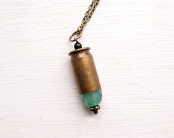 Handmade .45 Bullet Casing Necklace - .45 Bullet Pendant - Huntress Style Jewelry - Faceted Seafoam Teal Glass Beading With Onxy