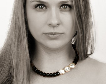 Black onyx statement necklace,silver necklace,beaded necklace,large necklaces,rondelle necklace,black necklace,evening necklace