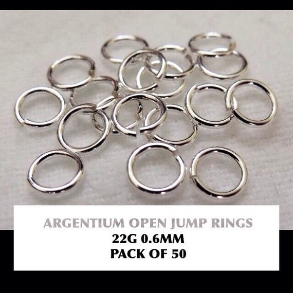50 x 0 6mm argentium silver open jump rings awg 22 saw