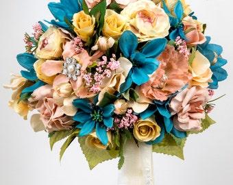 Silk Two piece WEDDING FLOWERS bouquet  rose pink