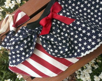 Too CUTE for the 4th!! Stars and stripes circle skirt, American flag inspired, Fourth of July skirt and headband
