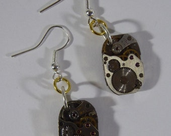 Earrings silver hooks 925 movement shows vintage steampunk