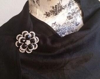 Black and white flower brooch | Neutral Vintage Rhinestones | Wedding Brooch | Rose Shawl Pin | Shawl Clip | Scarf Pin