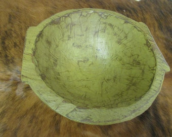 Chubster Deep Rustic Wooden Dough Bowl With Handles-Trencher-Batea-Doughboard-Doughbowl-Olive Green