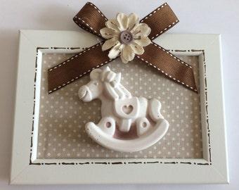 Baptism favor box frame with plaster horse