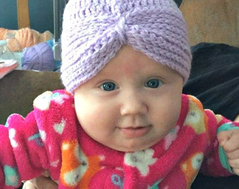 Soft crocheted baby turban